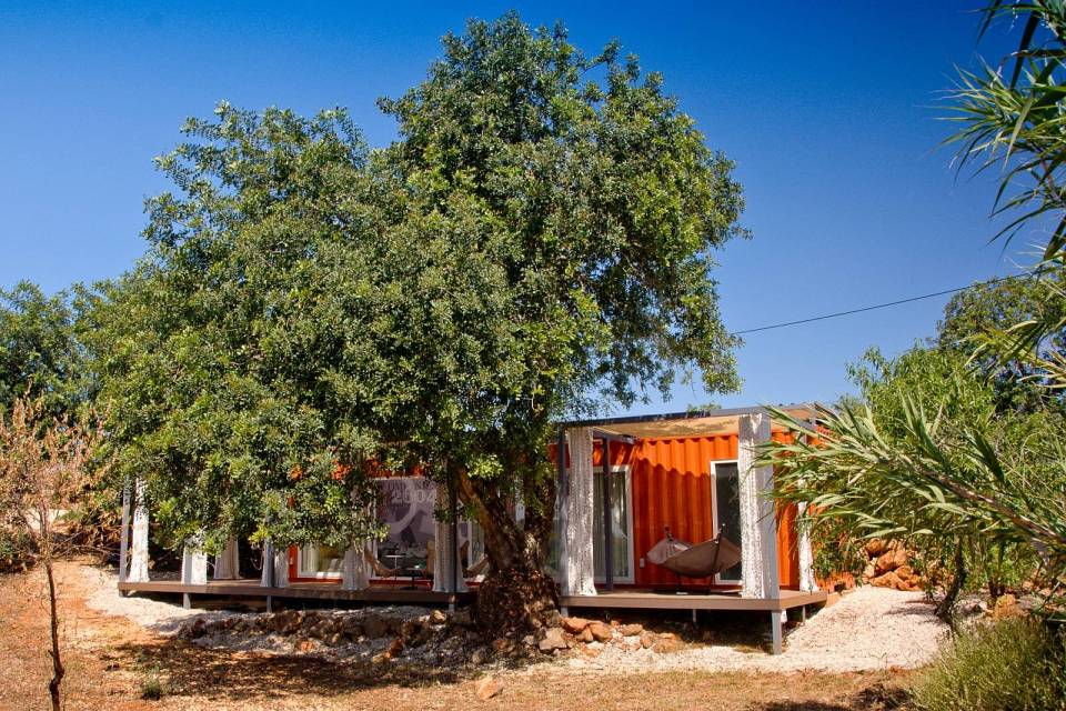 Nomad Living, a shipping container guest house that expands out to a shaded terrace. | www.facebook.com/SmallHouseBliss