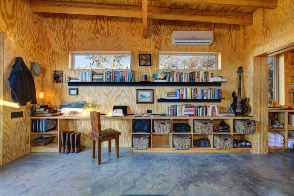 One of four 350 sq ft living/sleeping cabins that share cooking and social spaces in a common building. | www.facebook.com/SmallHouseBliss