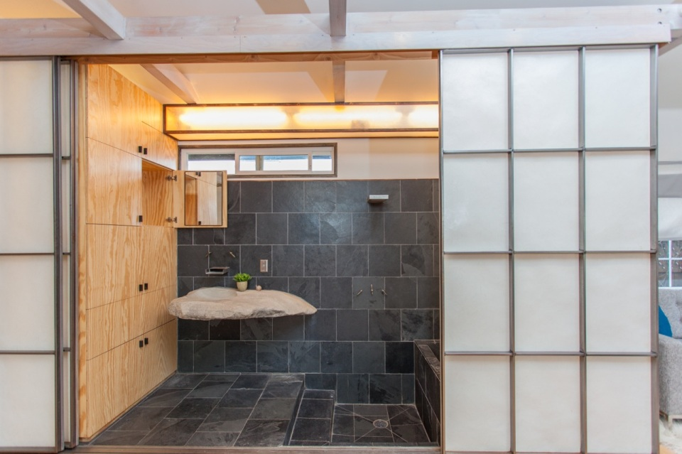 """Mad Men actor Vincent Kartheiser's Hollywood pad with a """"Japanese industrial"""" aesthetic. The 603 sq ft studio features a bed that drops from the ceiling. 