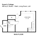 Though just 469 sq ft total, Susan's backyard cottage squeezes in spiral stairs to the loft bedroom. | www.facebook.com/SmallHouseBliss