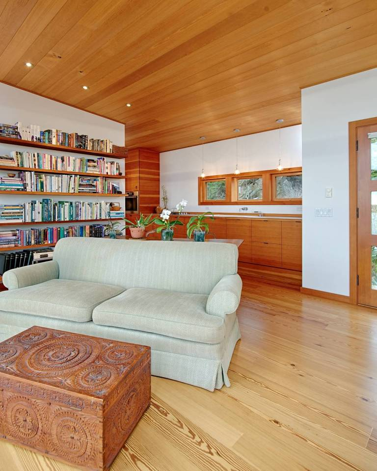 With a sod roof and weathered cedar siding, Eagle Point cabin blends with the San Juan Island landscape. It has 1 bedroom in 688 sq ft.   www.facebook.com/SmallHouseBliss