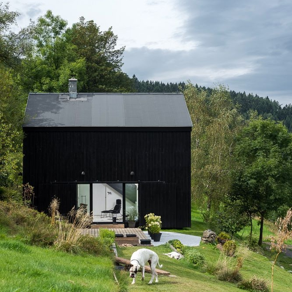 Small heritage barn was converted into a residence with a