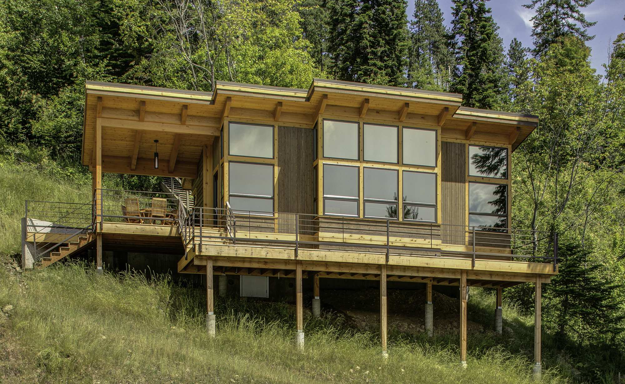 Elegant This Timber Framed Cabin Has Modern Lines And An Energy Efficient Shell.  There Is