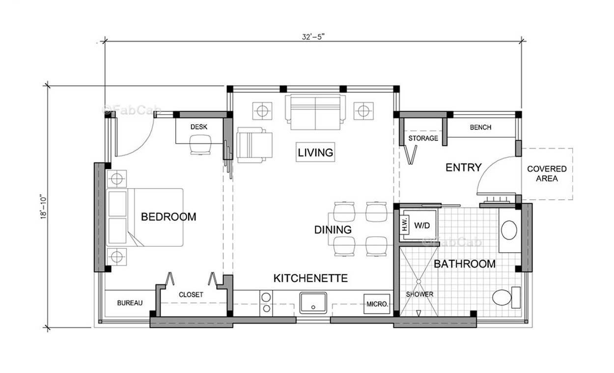 Fabcab Timbercab 550 Floor Plan Via Smallhousebliss on One Bedroom 1 Bath Floor Plans 600 Square Feet