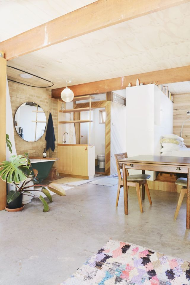 Gallery studio living in a converted garage hearth for Two car garage with studio apartment