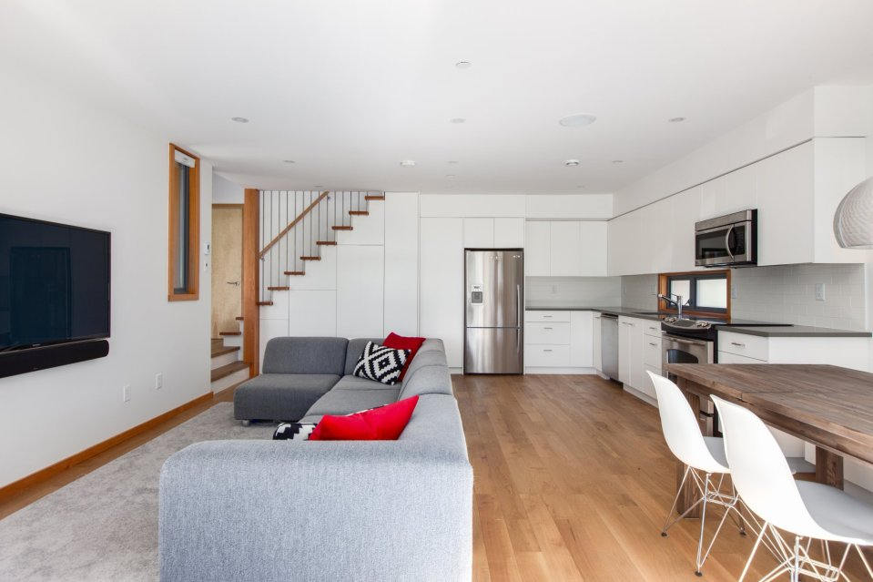 With 2 bedrooms in 800 sq ft, this energy-efficient laneway house is a good size for the young family that lives there.   www.facebook.com/SmallHouseBliss