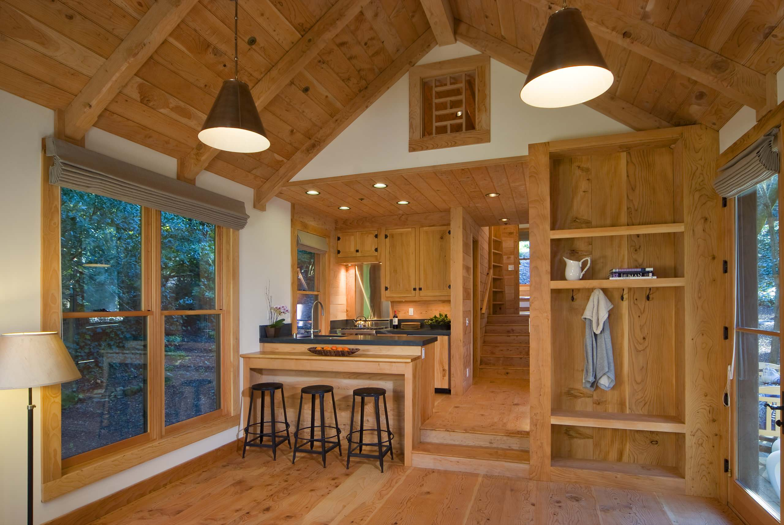This Rustic Guest Cabin Features Extensive Custom Interior Woodwork It Has One Bedroom And A