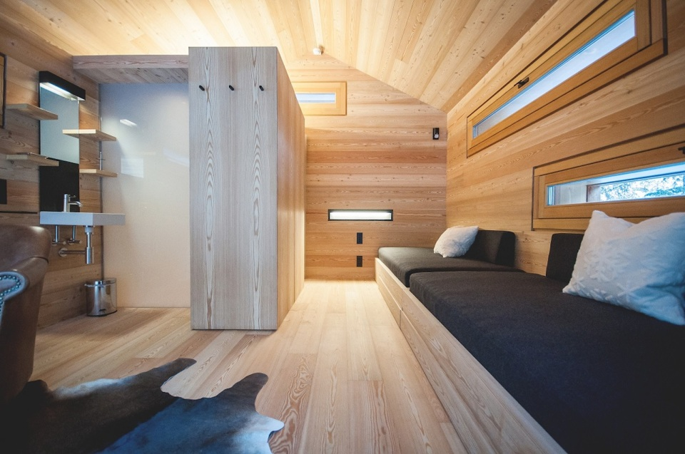 An alpine lodge and adjacent sleeping cabin in the alps of South Tyrol, Italy. Together they have 3 bedrooms in 1,399 sq ft. | www.facebook.com/SmallHouseBliss