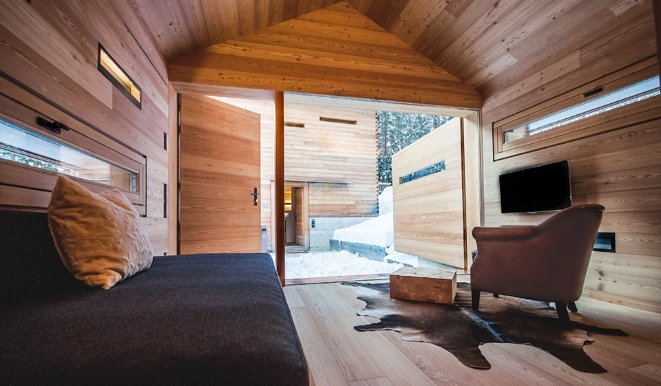 An alpine lodge and adjacent sleeping cabin in the alps of South Tyrol, Italy. Together they have 3 bedrooms in 1,399 sq ft.   www.facebook.com/SmallHouseBliss
