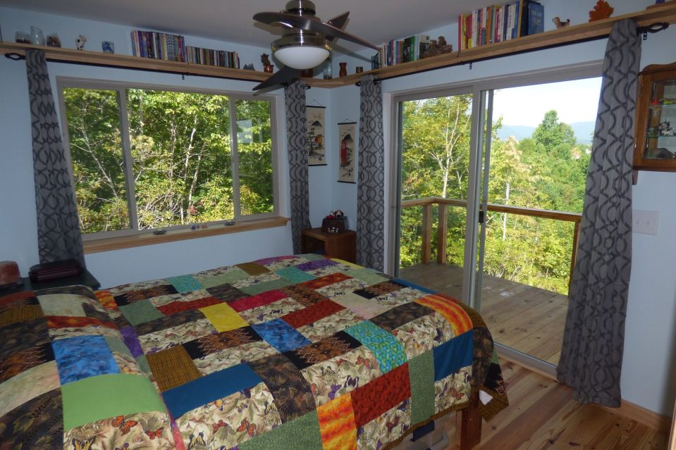 A modern cabin in the hills of North Carolina. It has one bedroom on the 704 sq ft ground floor plus a loft.   www.facebook.com/SmallHouseBliss
