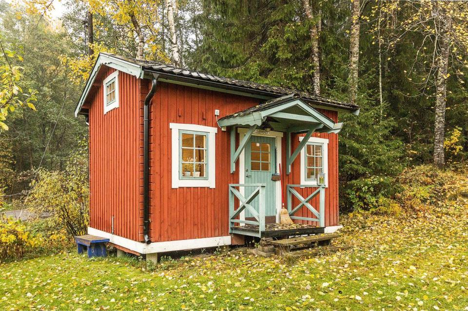Tiny 160 sq ft + loft guest house on a farm in Sweden. | www.facebook.com/SmallHouseBliss