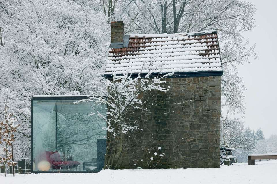 A stone outbuilding became a small house with the addition of a steel and glass pavilion. | www.facebook.com/SmallHouseBliss