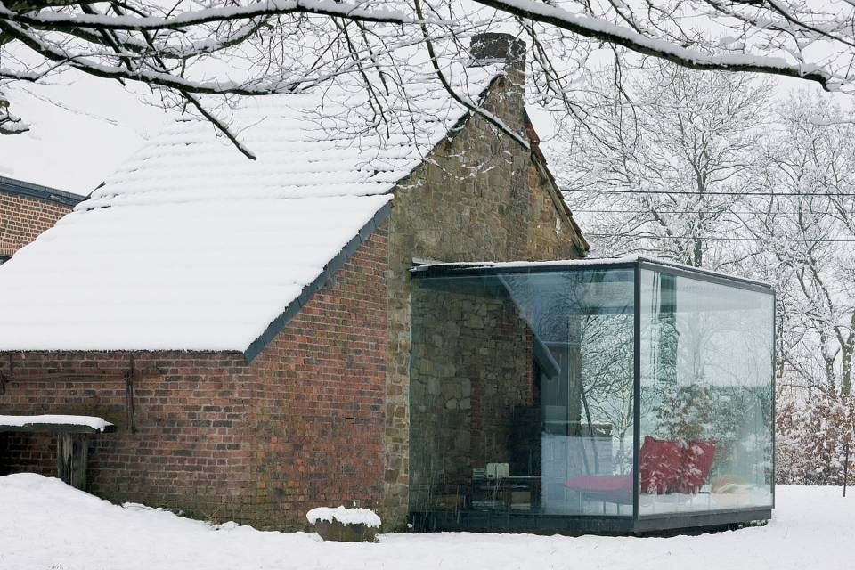 A stone outbuilding became a small house with the addition of a steel and glass pavilion.   www.facebook.com/SmallHouseBliss