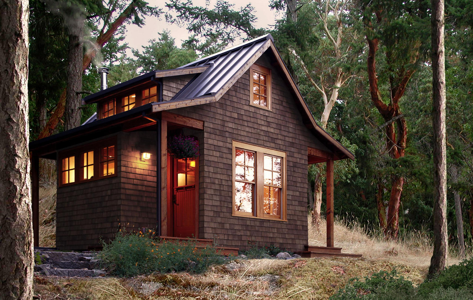 Charmant This Small Cabin In The Woods On Orcas Island Has A 350 Sq Ft Ground Floor