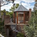 """The """"Tardis"""", a tiny tower house built within an existing backyard structure.   www.facebook.com/SmallHouseBliss"""