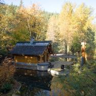 """""""The Totems"""" is a small log cabin with an almost mystical quality. It has 400 sq ft plus a sleeping loft.   www.facebook.com/SmallHouseBliss"""