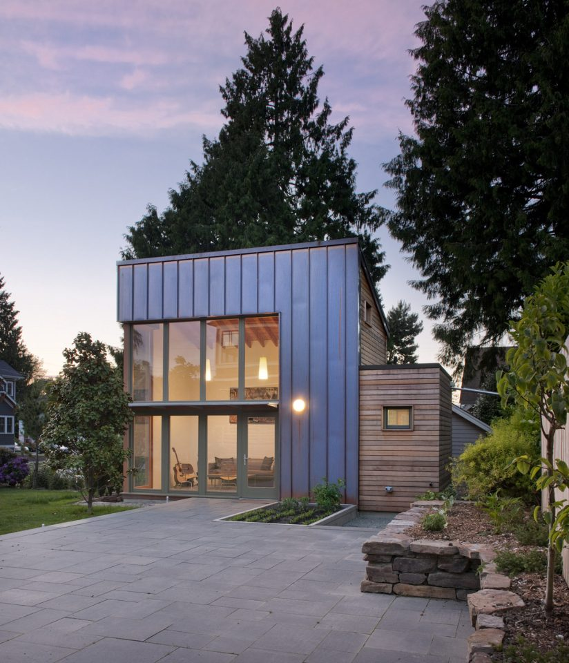 """This copper, glass and cedar """"garden pavilion"""" serves as music studio, guest house and home office. The 350 sq ft structure includes a full bathroom and kitchenette. 