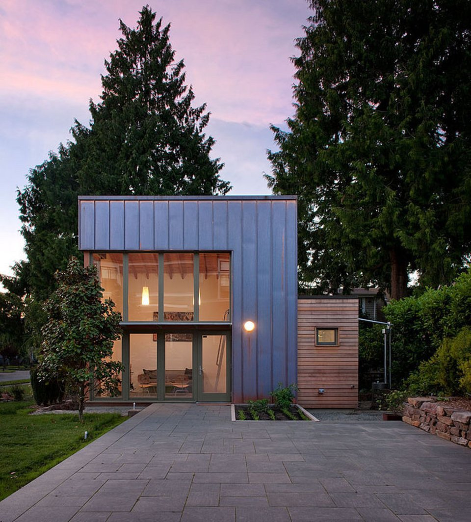 "This copper, glass and cedar ""garden pavilion"" serves as guest house, music studio and home office. The 350 sq ft structure includes a full bathroom and a kitchenette. 