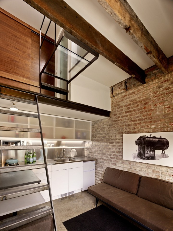 The Brick House, a self-contained guest suite built within a 94 sq ft former laundry boiler room. | www.facebook.com/SmallHouseBliss