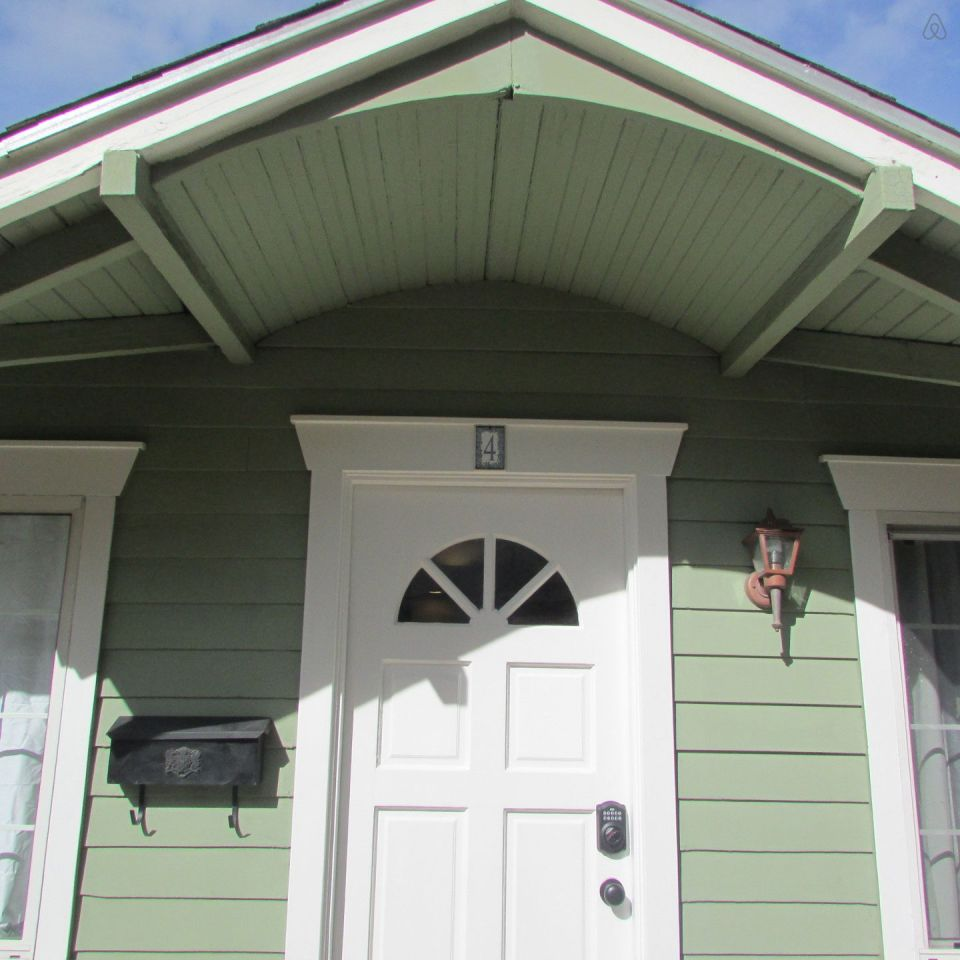 """This 1922 cottage is one of six in a California """"bungalow court"""". It has one bedroom on the 416 sq ft main level plus a sleeping loft. 