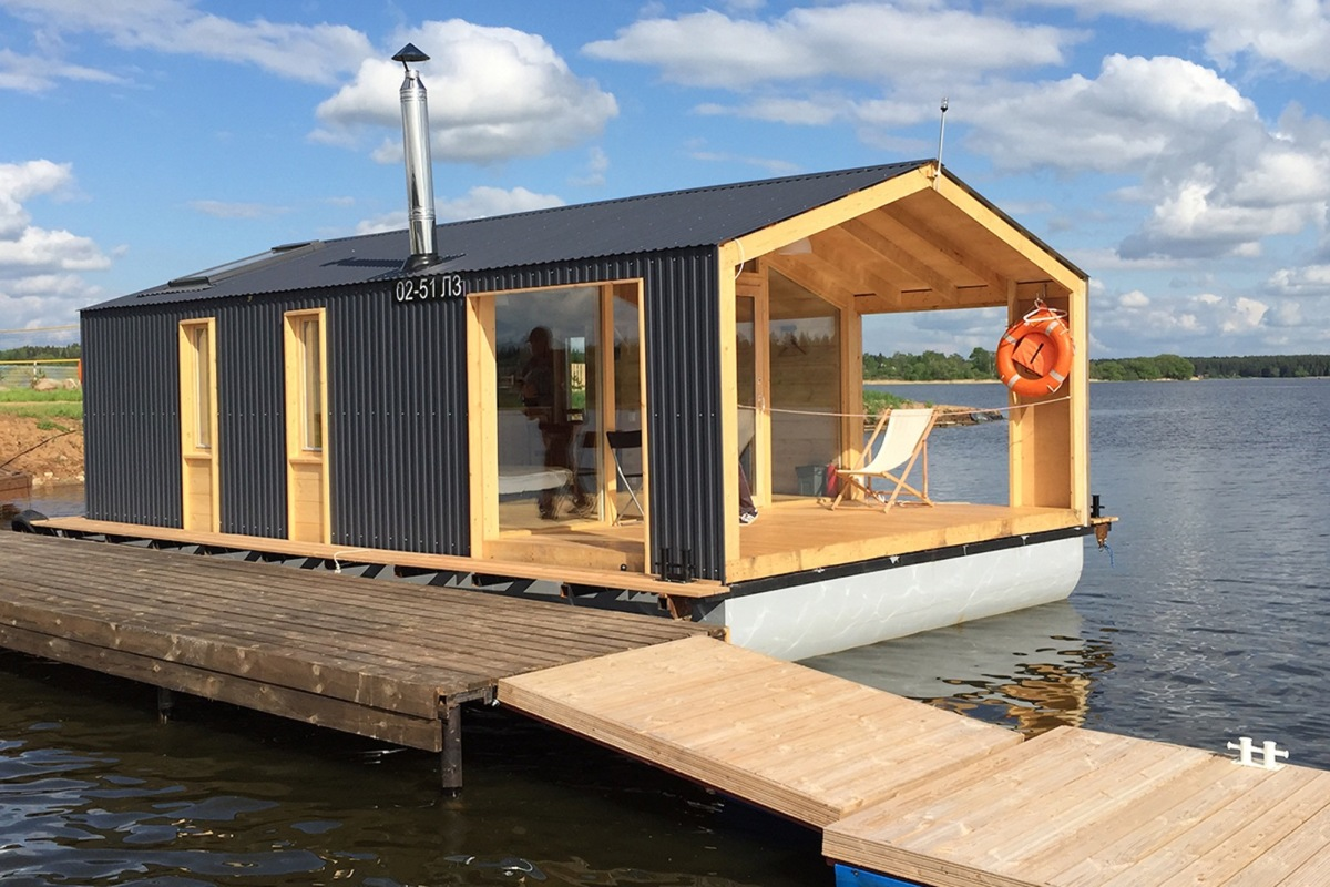 Dubldom houseboat a modular floating cabin dubldom for Modern cabin plans for sale