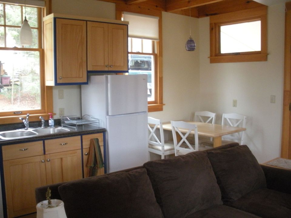 This older cottage in the woods near Asheville, NC, was renovated by the owners to create a cozy 600 sq ft home with one bedroom.   www.facebook.com/SmallHouseBliss