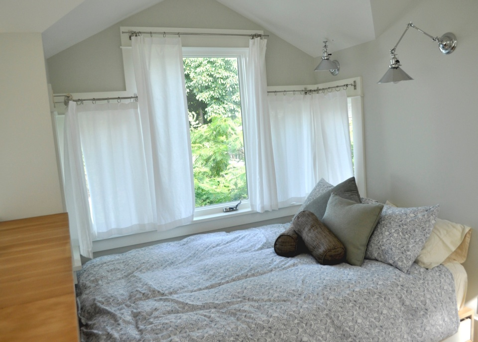 This tiny 2-storey guest cottage has one bedroom in 342 sq ft.   www.facebook.com/SmallHouseBliss