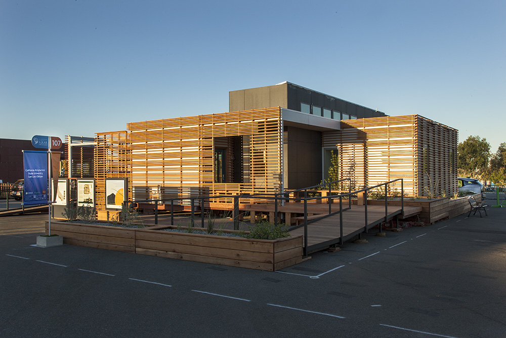 inhouse an entry at solar decathlon has a covering of redwood strips to