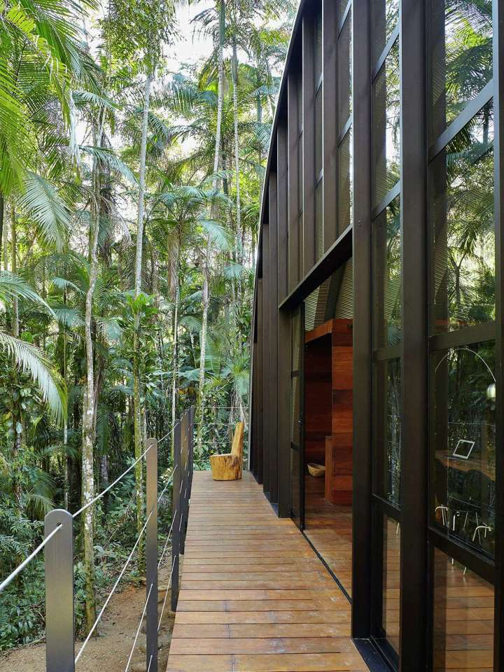 """""""Arca"""", an arched retreat in the Brazilian rainforest created from a prefab metal building. It has two bedrooms in 781 sq ft.   www.facebook.com/SmallHouseBliss"""