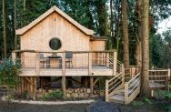 The Birdhouse Treehouse, a tiny wooden cottage in a woodland clearing. It has an open floor plan with a semi-separate bedroom space. | www.facebook.com/SmallHouseBliss