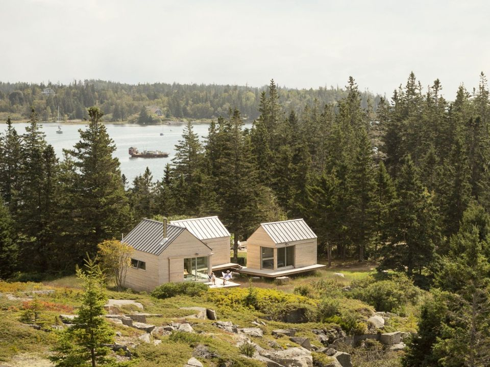 a tiny cabin compound in an old quarry go logic - Fjord Solar Home Plans