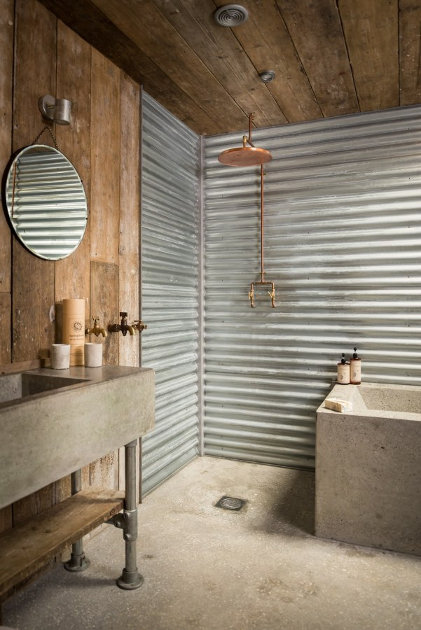The rustic and romantic firefly cabin small house bliss for Cabin shower tile ideas