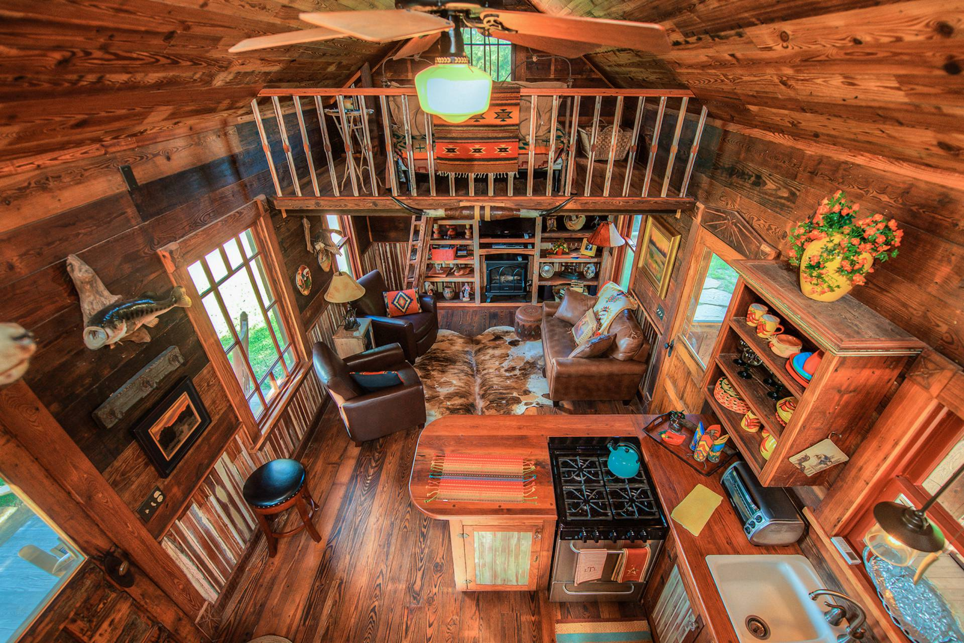 The Rustic Cowboy Cabin Was Built From Salvaged Materials. The 12u0027x28u0027 Cabin