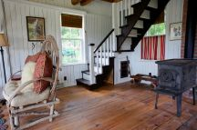 A 100-year-old barn converted into a small house with one bedroom in 650 sq ft. | www.facebook.com/SmallHouseBliss