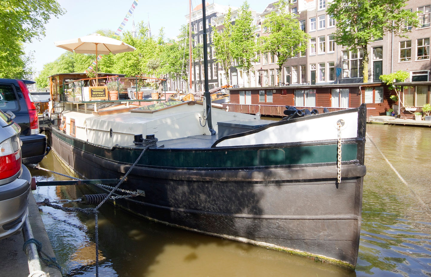 A canal barge houseboat in Amsterdam