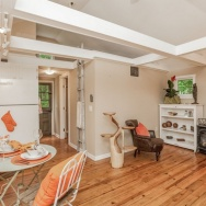 This 1943 shingled cottage in Connecticut has one bedroom on the 400 sq ft main floor plus a loft.   www.facebook.com/SmallHouseBliss