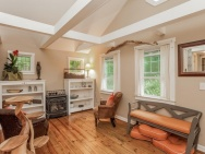 This 1943 shingled cottage in Connecticut has one bedroom on the 400 sq ft main floor plus a loft. | www.facebook.com/SmallHouseBliss