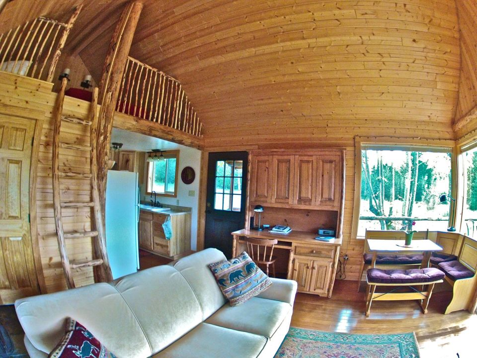 The Pond Cottage, a small cabin tucked into a secluded forest meadow. Inside it has 400 sq ft on the main floor plus a loft bedroom. | www.facebook.com/SmallHouseBliss